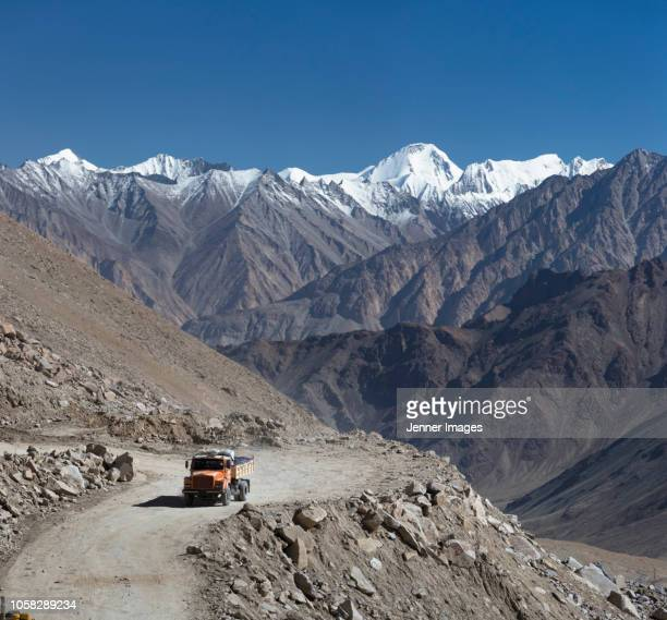 A truck on the road to Nubra Valley, Ladakh in Himalayan India.