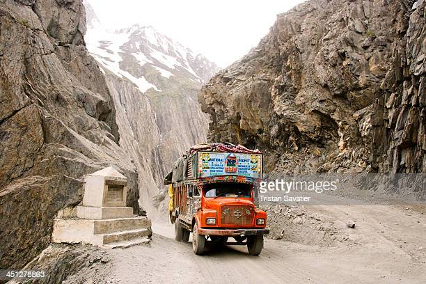 Truck on Zojila Pass in Drass Valley, on the Leh to Srinagar road in Kashmir. Zojila is a high mountain pass in Indian-administered Kashmir, located...