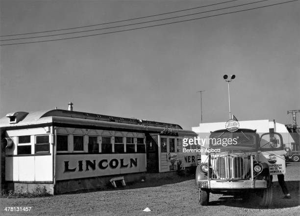 A truck outside Lincoln Diner on US Route 1 New Jersey United States 1954