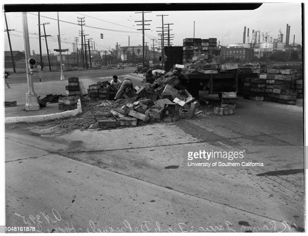 Truck overturns and spills load of grapes at Figueroa Street and B Street Wilmington 19 November 1951 Ramon GarciaFrank De PasqualeHappy Johnson...