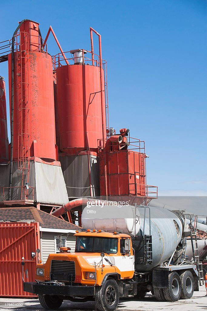 Truck Parked By Cement Factory High-Res Stock Photo
