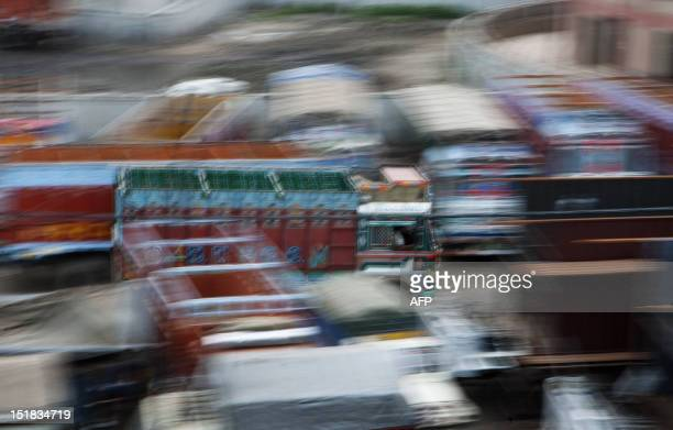 A truck passes through the Sanjay Gandhi Transport Nagar a transport rest area in New Delhi on September 8 2012 At the Transport Nagar there are over...