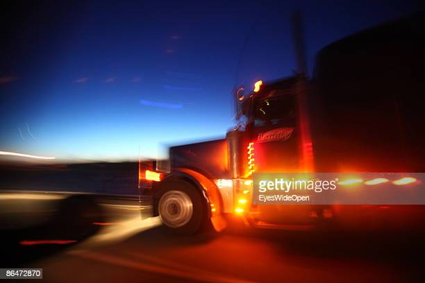 A truck passing the Confederation Bridge in Charlottetown Prince Edward Island APRIL 19 2009