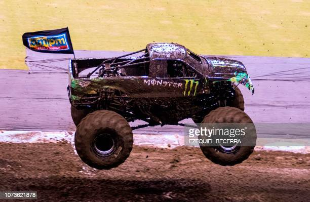 A truck performs during the Monster Jam truck show in San Jose Costa Rica on December 14 2018 Customdesigned trucks weighing a minimum of 9000 pounds...