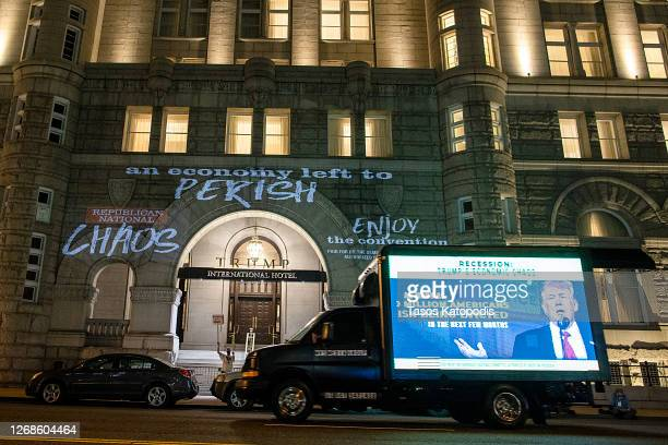 Truck projects an anti-President Donald Trump message near the Trump International Hotel on August 25, 2020 in Washington, DC. The convention is...