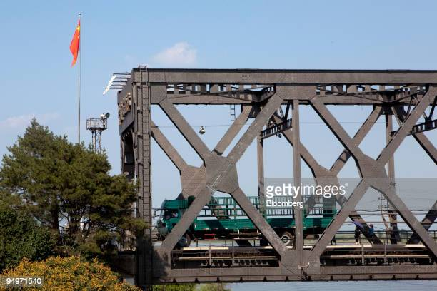 Truck returning from Sinuiju, in the Democratic People's Republic of Korea , is inspected at a checkpoint on the China-Korea Friendship Bridge in...