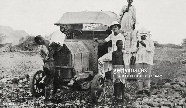 A FIAT truck returning to Mersa Fatima from the Dalol mine Ethiopia from l'Illustrazione Italiana Year XLV No 34 August 25 1918