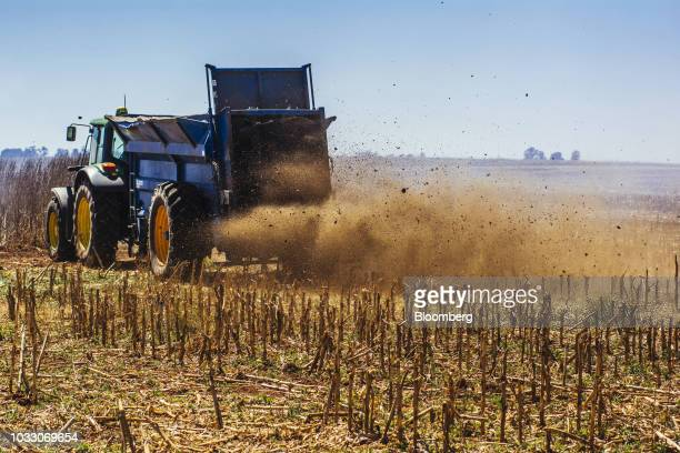 A truck rives through a harvested corn field on the Ehlerskroon farm outside Delmas in the Mpumalanga province South Africa on Thursday Sept 13 2018...
