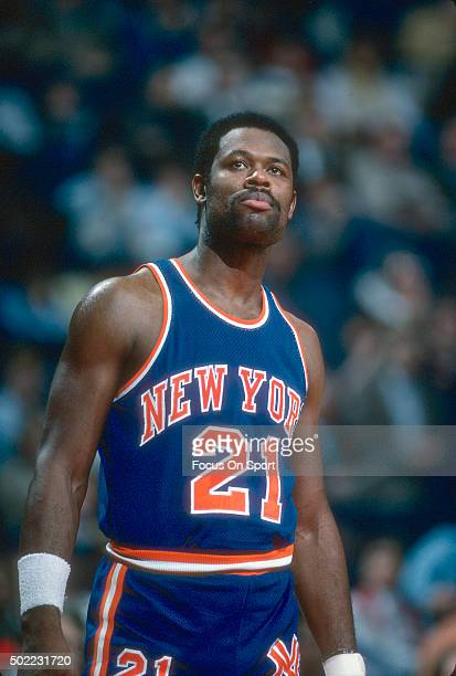 Truck Robinson of the New York Knicks looks on against the Washington Bullets during an NBA basketball game circa 1984 at the Capital Centre in...