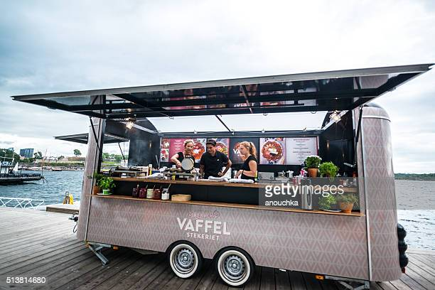 Truck selling freshly cooked waffles in Oslo, Norway