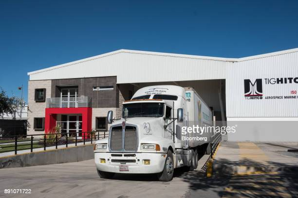 A truck sits parked outside the Tighitco Inc manufacturing facility in San Luis Potosi Mexico on Thursday Nov 16 2017 With 312 registered industrial...