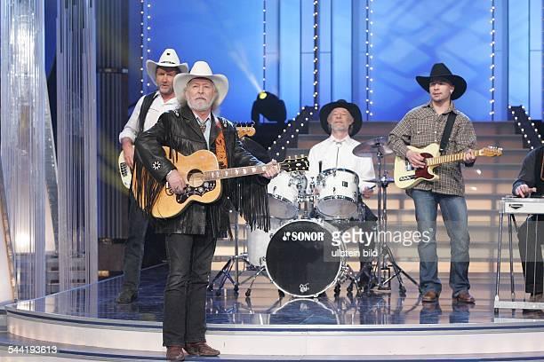 """Truck Stop; Musikgruppe, Country-Musik; D - vorn: Saenger Lucius; Auftritt in der TV-Show """"Ich aergere mich ueber gar nichts mehr""""; Sendetermin:"""
