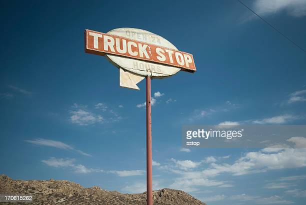 truck stop sign - roadside stock pictures, royalty-free photos & images