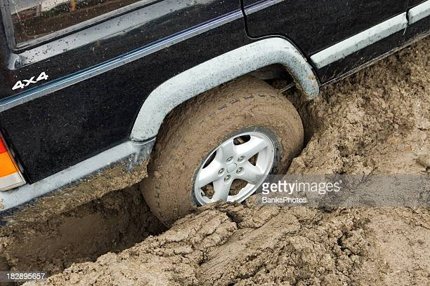 Truck Stuck in Mud after a Heavy Rain