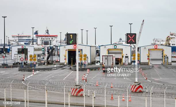 Truck takes the direction of the ferries to cross the Channel to Britain on January 4, 2021 in Calais. - Goods flowed smoothly across the Channel...