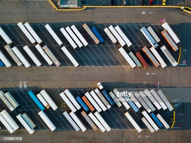 Truck Trailers Lined Up in Intermodal Freight Yard - Birds Eye View