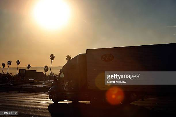 Truck travels the 210 freeway between Los Angeles and cities to the east on December 1, 2009 near Pasadena, California. President Barack Obama will...