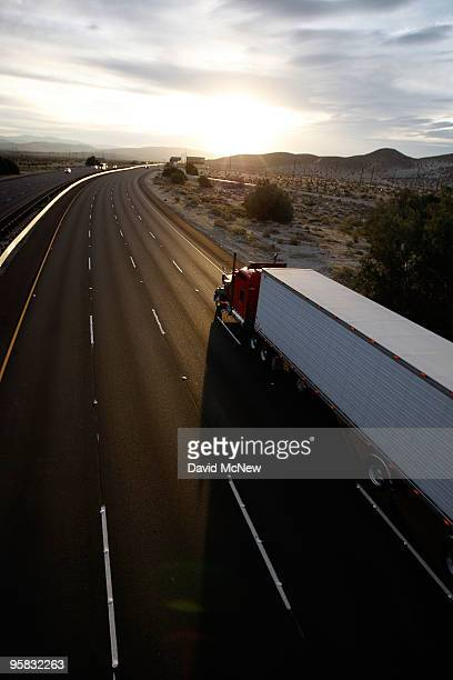 A truck travels the Interstate 10 freeway on January 17 2010 near of Palm Springs California The San Andreas earthquake fault crosses all roadways...