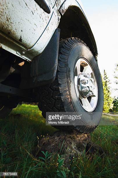 Truck wheel on rock