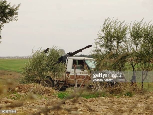 A truck with a weapon loaded on its back is seen in Idlib Syria on January 11 2018 Assad Regime and its supporter terrorist groups continue their...