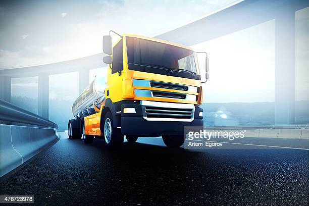 truck with oil cistern on asphalt road highway