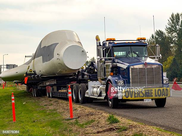Truck with Oversize Load Sign Carring B-1 Bomber I-5 Oregon