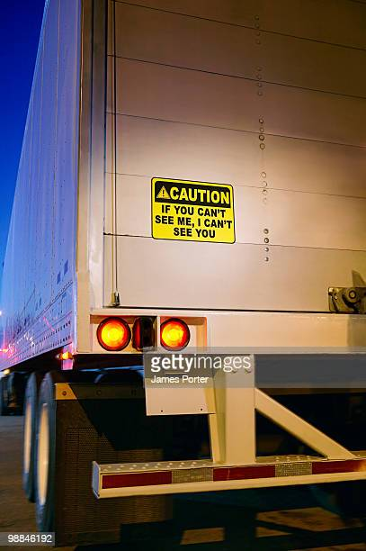 Truck with warning sign