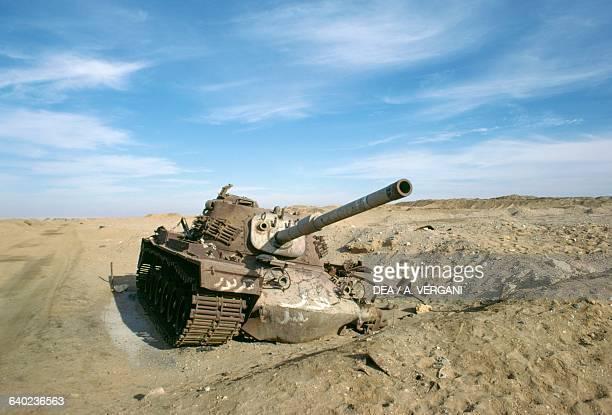 Truck wreckage from Yom Kippur War near Suez Canal Sinai Peninsula Egypt