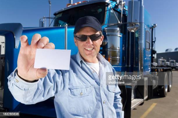 Trucker Holding a Card