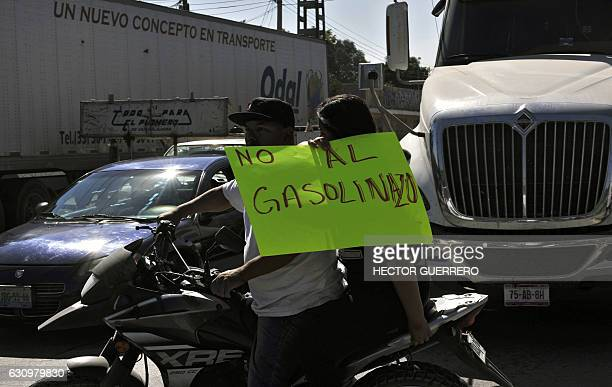 Truckers and drivers block the western distribution center of Pemex during a protest against the rise in fuel prices in Guadalajara Jalisco state on...