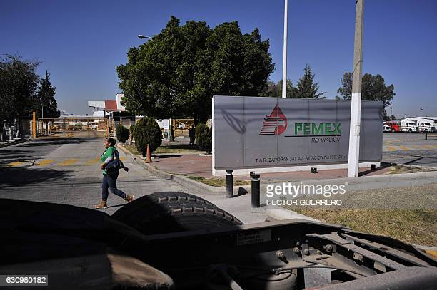 Truckers block the western distribution center of Pemex during a protest against the rise in fuel prices in Guadalajara Jalisco state on January 4...
