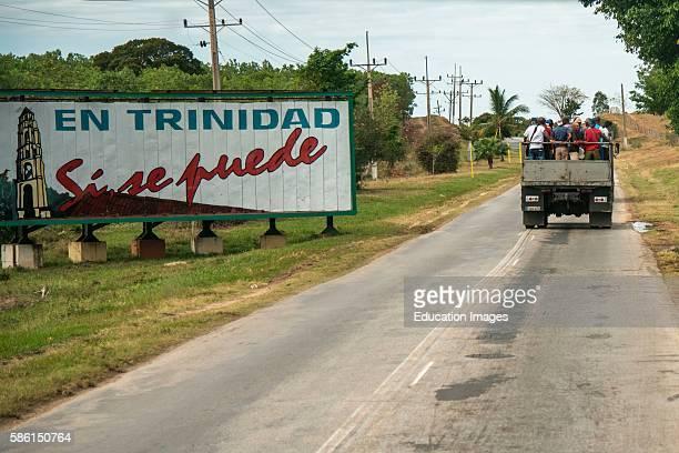 Truckload of men on a Cuban road