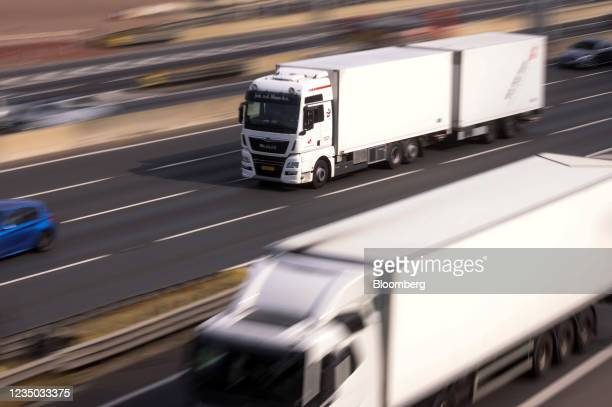 Trucks after passing over the Dartford crossing bridge near Dartford, U.K., on Friday, Sept. 3, 2021. The U.K. Is running out of time to find more...