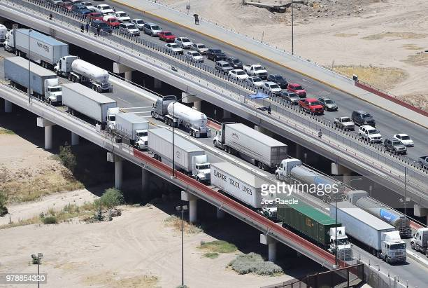 Trucks and cars are seen on the US Customs and Border Protection Ysleta Port of Entry on June 19 2018 in El Paso Texas The Trump administration is...
