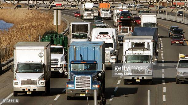 Trucks and cars drive down the New Jersey Turnpike February 23 2005 in Elizabeth New Jersey According to the Clean Air Task Force an average of 2729...