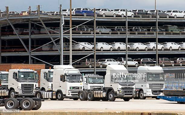 Trucks and cars for export from the UK on the docks at Southampton