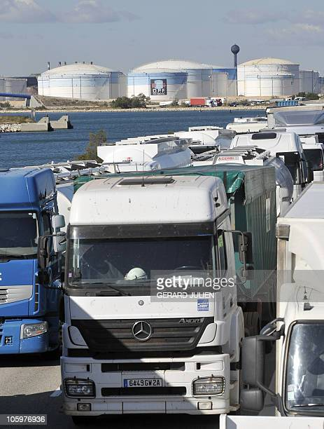 Trucks are blocked near the fuel depot at FossurMer on October 20 2010 in FossurMer southern France Police cleared protestors blockading French fuel...