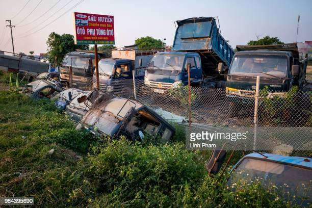 Trucks are placed for sale on the main road of Te Lo village on June 7 2018 in Te Lo Village Yen Lac District Vinh Phuc Province Vietnam Vietnam has...