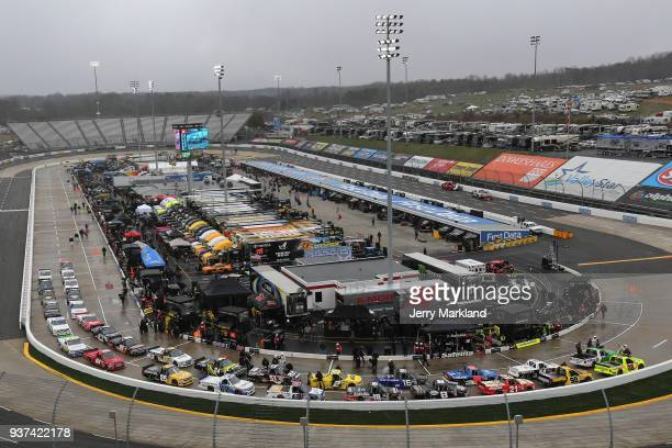 Trucks are seen on pit road after the NASCAR Camping World Truck Series Alpha Energy Solutions 250 is postponed for winter weather at Martinsville...
