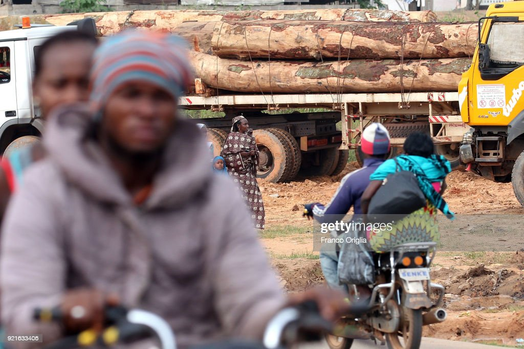 Trucks carry wooden logs in the village of Mbalmayo (south Yaounde) on February 19, 2018 in Yaounde, Cameroon. Cameroon is often referred to as 'Africa in miniature' for its geological and cultural diversity. Natural features include beaches, deserts, mountains, rainforests, and savannas.