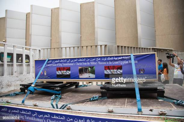 Trucks carrying the last chariot of Tutankhamun arrive to the Grand Egyptian Museum Giza Egypt 05 May 2018 The sixth and last chariot of Tutankhamun...