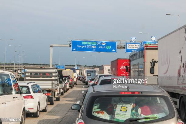 Trucks, cars, campers, and caravans standing in giant traffic jam due the summer trips are seen at a highway near Budapest , Hungary, on 5 August 2020