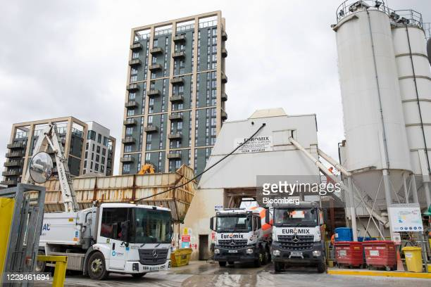 Trucks collect loads of concrete for delivery in London UK on Monday June 29 2020 UK Prime Minister Boris Johnsonpromised a big plan to help the UK...