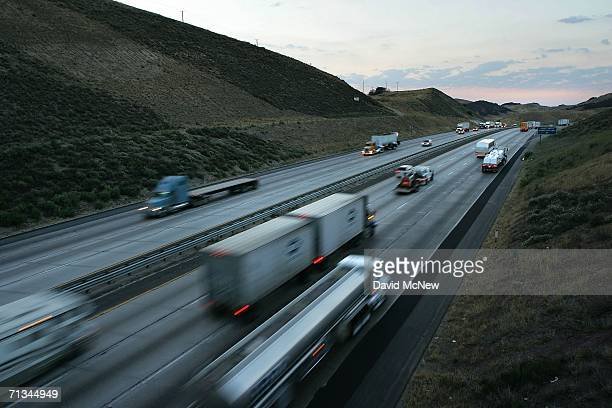 Trucks cross the San Andreas Fault at Tejon Pass between Los Angeles and northern California Interstate 5 on June 30 2006 near Gorman California...