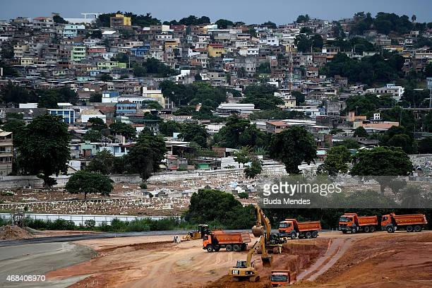 Trucks drive inside of the Deodoro Sports Complex which is built for the Rio 2016 Olympic Games in Ricardo de Albuquerque neighborhood on April 2...