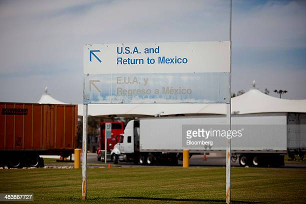 Trucks enter from Mexico at the Calexico East Port of Entry in Calexico California US on Wednesday April 9 2014 Wholesale trade rose 07% in February...