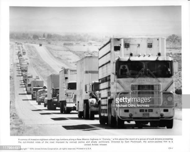 Trucks in a scene from the film 'Convoy', 1978.