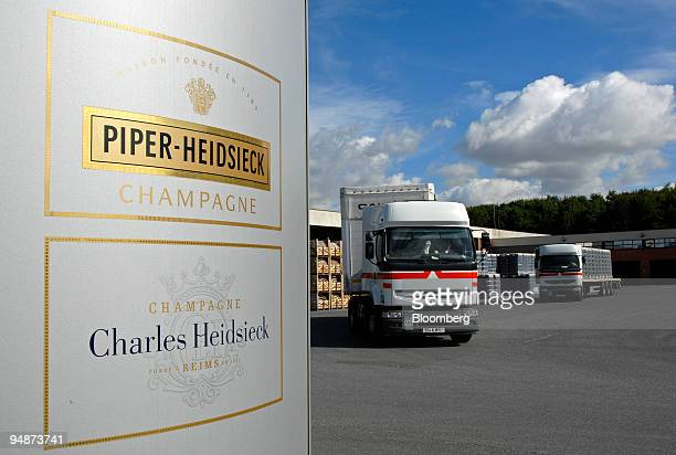Trucks leaves with a shipment of Champagne at the Piper-Heidsieck champagne factory, owned by Remy-Cointreau, in Reims, France, on Monday, July 21,...