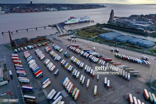 Trucks line up at the Birkenhead-Belfast Terminal ready to board Stena Line's Irish sea ferry Stena Edda on December 14, 2020 in Liverpool, England....