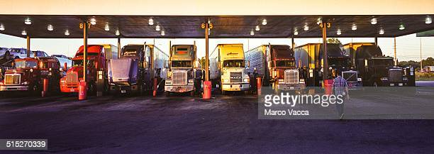 Trucks lined at a gas station on 95 interstates Usa